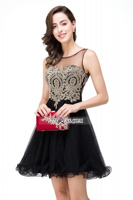 Sleeveless Appliques 2020 Sexy Black Tulle Homecoming Dress_11