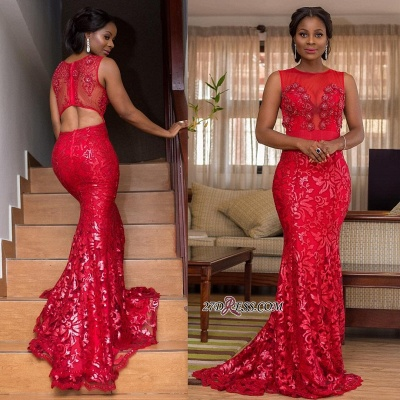 Elegant Red Lace Appliques Mermaid Prom Dresses | Scoop Sleeveless Cut Back Evening Dresses BK0_2