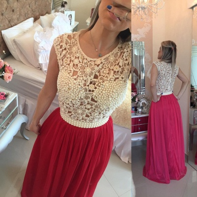 Gorgeous Red Pearls Lace Prom Dresses 2020 Long Chiffon BT0_3