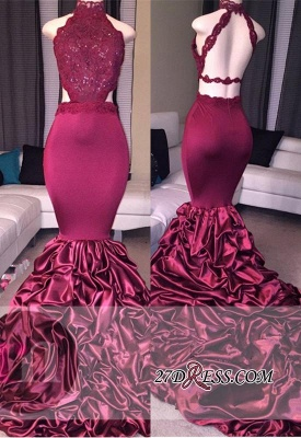 Mermaid Newest High-Neck Open-Back Beadings Lace Prom Dress_3