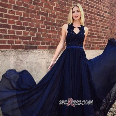 Lace Belted A-line Fascinating Jewel Appliques Evening Dresses_2