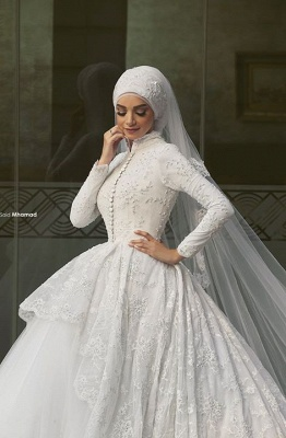 Elegant Tulle Lace Appliques Arabic Wedding Dress 2020 Ball Gown High Neck_3