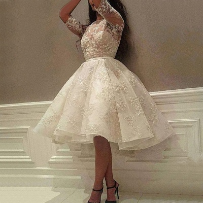 Delicate Lace Half-sleeve A-line Wedding Dress   Knee-length Bridal Gown_1