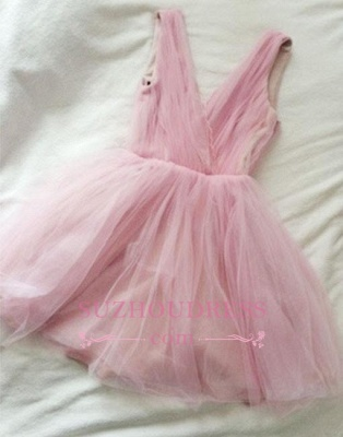 Tulle Cute Short Simple Pink V-neck Homecoming Dress_1