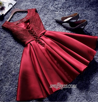 Bowknot-Sash Red Lace-Up-Back A-line Homecoming Dresses BA7429_4