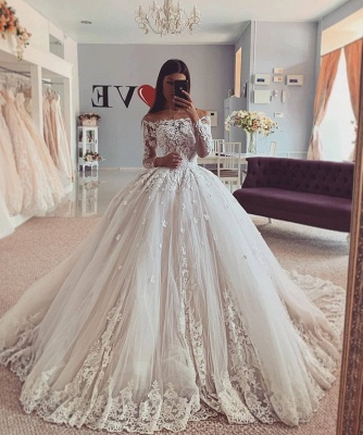 Gorgeous Lace Appliques Off-the-shoulder Ball Gown Wedding Dresses_2