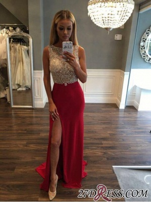 Gorgeous Sleeveless Sweep-Train Front-Split Crystals Jewel Prom Dress_4