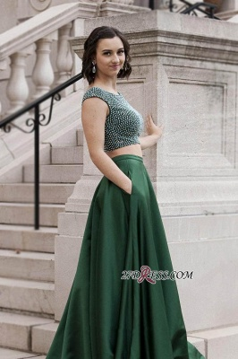 Two pieces beads prom dress, 2020 evening dresses_2
