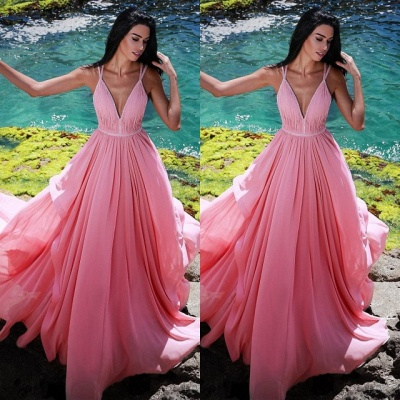 Gorgeous V-Neck Sleeveless Evening Gowns | Pink Long Ruched Princess Prom Dress On Sale_3