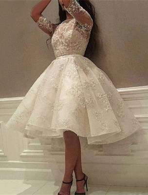 Delicate Lace Half-sleeve A-line Wedding Dress   Knee-length Bridal Gown_3