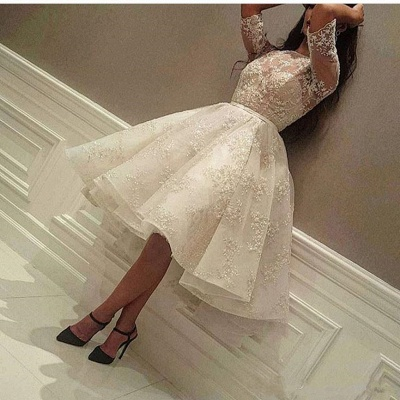 Delicate Lace Half-sleeve A-line Wedding Dress   Knee-length Bridal Gown_2