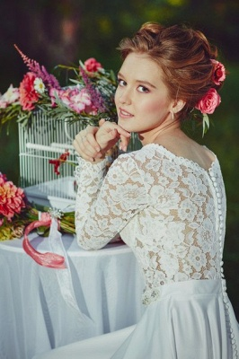 Fairy long Sleeve Lace Wedding Dress 2020 Zipper Button Back_2