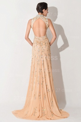 Sexy High Neck Mermaid Prom Dress Beadings Sweep Train_4