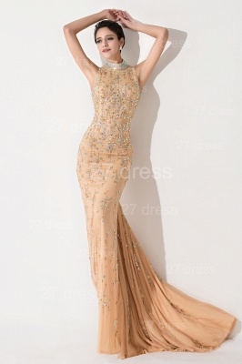 Sexy High Neck Mermaid Prom Dress Beadings Sweep Train_1