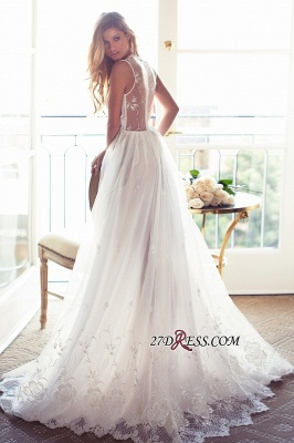 Gorgeous Princess Sleeveless Lace Appliques A-Line V-Neck Wedding Dress_3