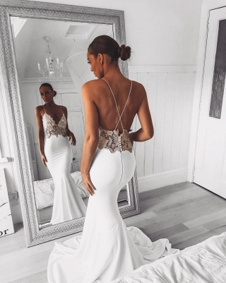Sexy Mermaid Lace Spaghetti Strap Wedding Dress | Open Back Bridal Gown_2
