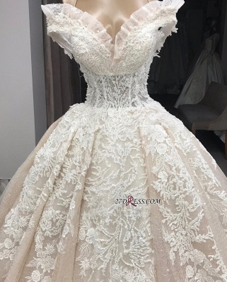 Ball-Gown Appliques Off-the-shoulder Gorgeous Wedding Dresses_1