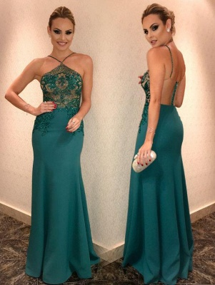 Sexy Open Back Lace Beads Evening Dress | Mermaid Green Party Gown_2