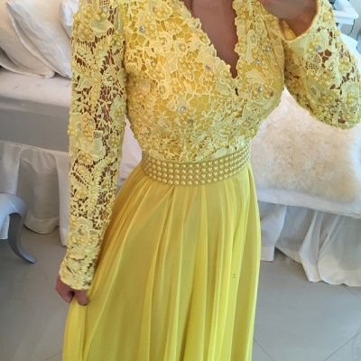 Glamorous Long Sleeve Chiffon Prom Dress With Pearls And Lace Appliques BT0_3