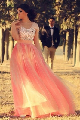 Romantic Cap Sleeve Tulle Pink Evening Dress Crystals Floor-length_1