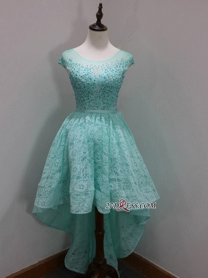 Dresses Scoop Sleeves Cap Sequins Newest A-Line Lace High-Low Homecoming Prom Dresses_1