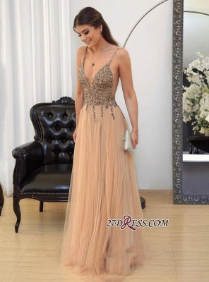 Tulle v-neck long prom dress,evening dress with beads_1