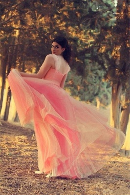 Romantic Cap Sleeve Tulle Pink Evening Dress Crystals Floor-length_3