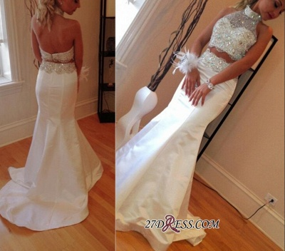 Gorgeous Sleeveless High-Neck Sweep-Train Mermaid Zipper Crystals Two-Piece Prom Dress_1