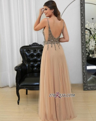Tulle v-neck long prom dress,evening dress with beads_3