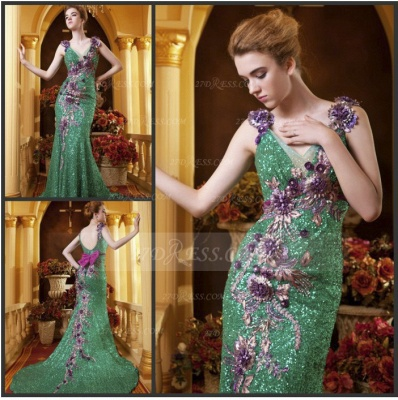 Sequined Sleeveless Mermaid Prom Dresses 2020 Vintage Gowns Straps Green Flower Embroidery Sweep Train Bowknot Evening_5