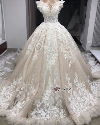 Ball-Gown Appliques Off-the-shoulder Gorgeous Wedding Dresses_3