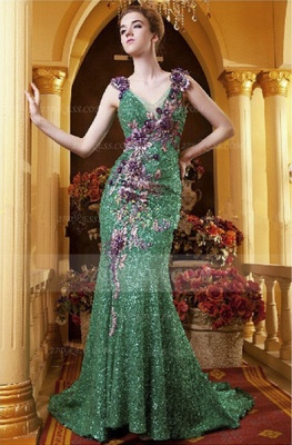 Sequined Sleeveless Mermaid Prom Dresses 2020 Vintage Gowns Straps Green Flower Embroidery Sweep Train Bowknot Evening_1