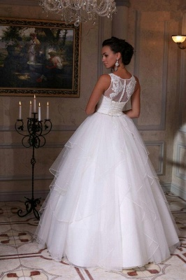 Modern White Scoop Sleeveless 2020 Wedding Dress Appliques Tulle Bridal Gowns_3