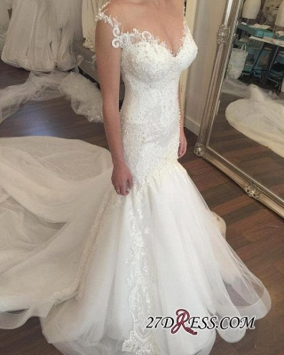 2020 Zipper Charming mermaid Button Tulle Beadings Mermaid Lace Sweetheart Wedding Dress_4