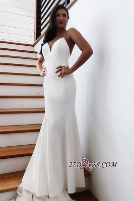 Backless Spaghetti-Straps Mermaid Fascinating Wedding Dresses_2