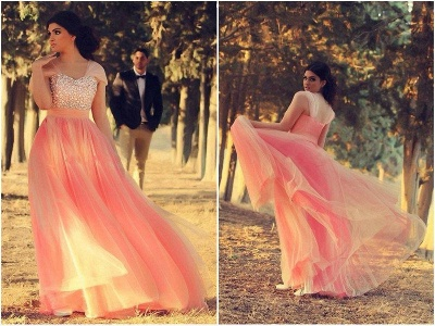 Romantic Cap Sleeve Tulle Pink Evening Dress Crystals Floor-length_2
