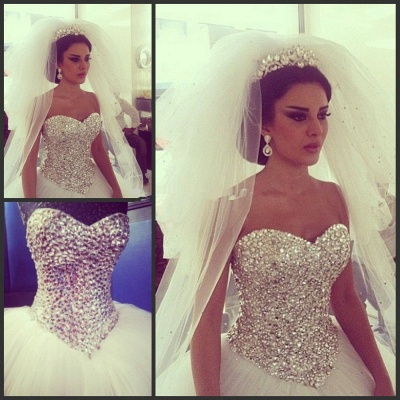 Glamorous Tulle Ball Gown Wedding Dress With Crystals_3