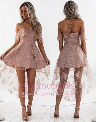 Short Hight-low Lace A-line Cute Homecoming Dress BA7000_1