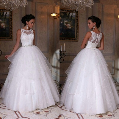 Modern White Scoop Sleeveless 2020 Wedding Dress Appliques Tulle Bridal Gowns_1