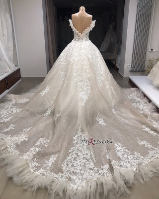 Ball-Gown Appliques Off-the-shoulder Gorgeous Wedding Dresses_2