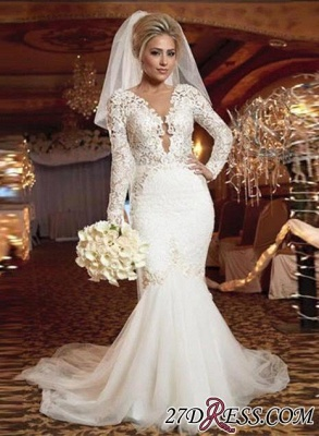 2020 lace Mermaid Zipper Long-Sleeve Gorgeous Wedding Dress_2