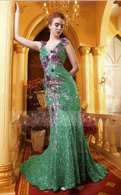 Sequined Sleeveless Mermaid Prom Dresses 2020 Vintage Gowns Straps Green Flower Embroidery Sweep Train Bowknot Evening_3