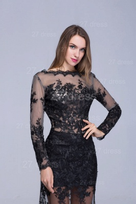 Sexy Long Sleeve Black A-line Evening Dress Lace Appliques_2