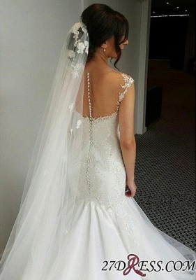 2020 Zipper Charming mermaid Button Tulle Beadings Mermaid Lace Sweetheart Wedding Dress_3
