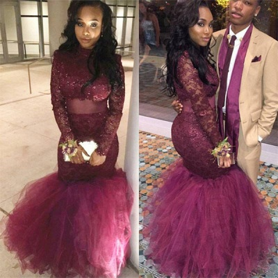 Tulle Lace-Appliques Mermaid Long-Sleeve Prom Dress BK0_4
