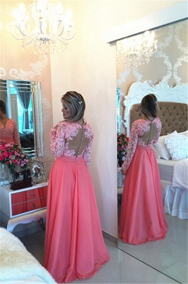 Glamorous Long Sleeve Chiffon Prom Dress With Pearls And Lace Appliques BT0_2