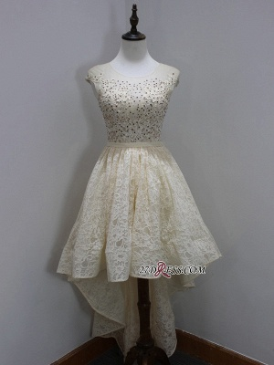 Dresses Scoop Sleeves Cap Sequins Newest A-Line Lace High-Low Homecoming Prom Dresses_3