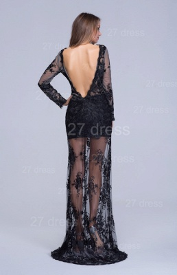 Sexy Long Sleeve Black A-line Evening Dress Lace Appliques_3