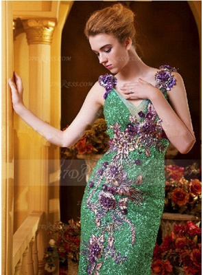 Sequined Sleeveless Mermaid Prom Dresses 2020 Vintage Gowns Straps Green Flower Embroidery Sweep Train Bowknot Evening_2