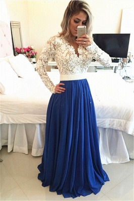 Glamorous Long Sleeve Chiffon Prom Dress With Pearls And Lace Appliques BT0_1